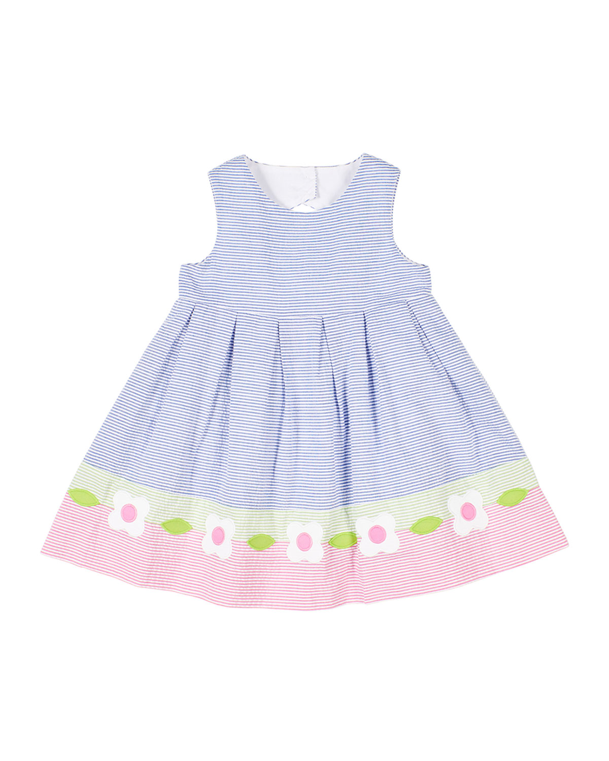 Florence Eiseman Cottons GIRL'S MULTICOLOR SEERSUCKER DRESS W/ FLOWERS