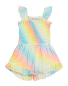 Flowers by Zoe Girl's Eyelet Rainbow Sprayed Smocked