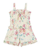 Flowers by Zoe Girl's Floral Eyelet Smocked Romper,