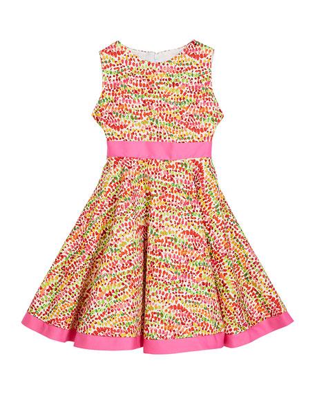 Susanne Lively Girl's Pebble Print Twirl Dress w/ Solid Trim, Size 12M-3