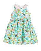 Susanne Lively Girl's Flamingo Dress with Collar, Size