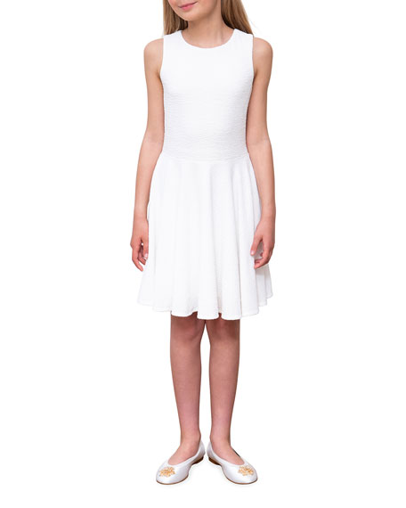 David Charles Girl's Knotted-Back Pebble Knit Dress, Size 10-16