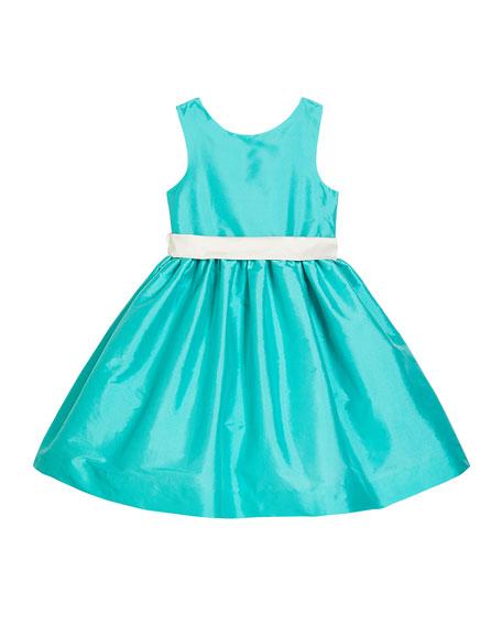 Susanne Lively Girl's Sleeveless Taffeta Dress w/ Sash, Size 12M-3