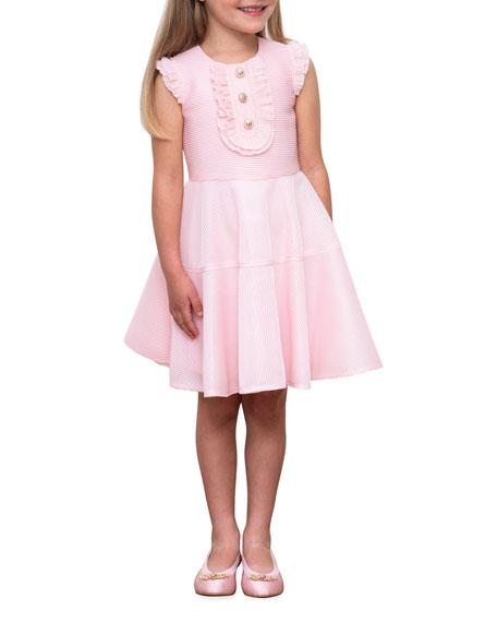 David Charles Girl's Ruffle-Bib Rib-Knit Fit-&-Flare Dress, Size 4-8
