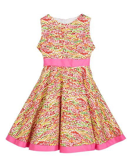 Susanne Lively Girl's Pebble Print Twirl Dress w/ Solid Trim, Size 4-6X