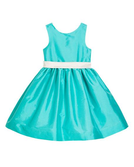 Susanne Lively Girl's Sleeveless Taffeta Dress w/ Sash, Size 4-6X