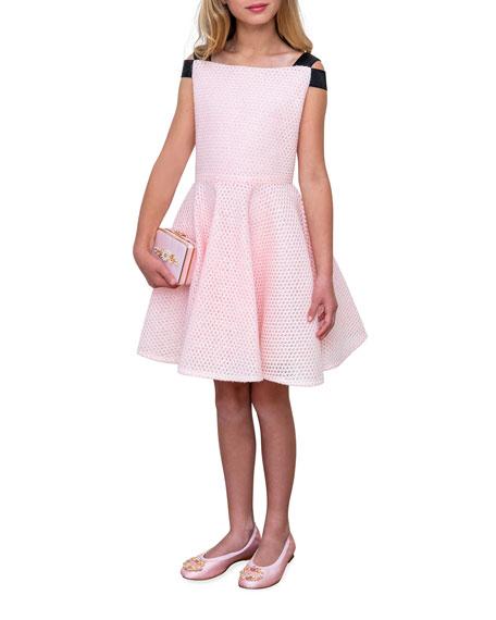 David Charles Girl's Sparkle Mesh Elastic-Shoulder Dress, Size 8-16