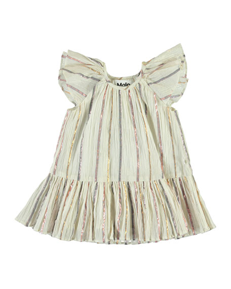 Molo Cindie Metallic Stripe Dress, Size 12-24 Months