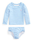 Ralph Lauren Childrenswear Girl's Striped Two-Piece Rash Guard