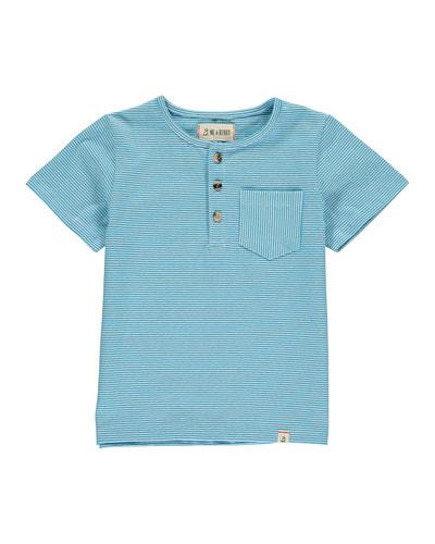 Boy's Striped Henley T-Shirt w/ Children's Book, Size 3T-10