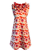 Helena Girl's Floral-Print Ruffle-Trim Dress, Size 4-6