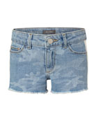 DL1961 Premium Denim Girl's Lucy Camo Cutoff Shorts,