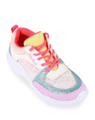 Billieblush Girl's Multicolored Chunky Sole Lace-Up Sneakers,