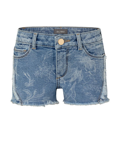 Girl's Lucy Faded Floral Raw Edge Denim Shorts, Size 2-6