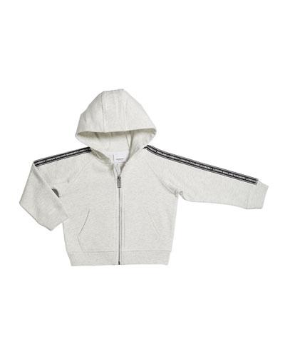 Girl's Corwyn Logo Tap Zip-Front Fleece Hoodie, Size 3-14