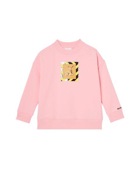 Burberry Girl's Carrie Deer Print Cotton Sweatshirt, Size 3-14
