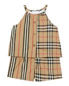 Burberry Girl's Alice Archive Check Icon Stripe Romper,