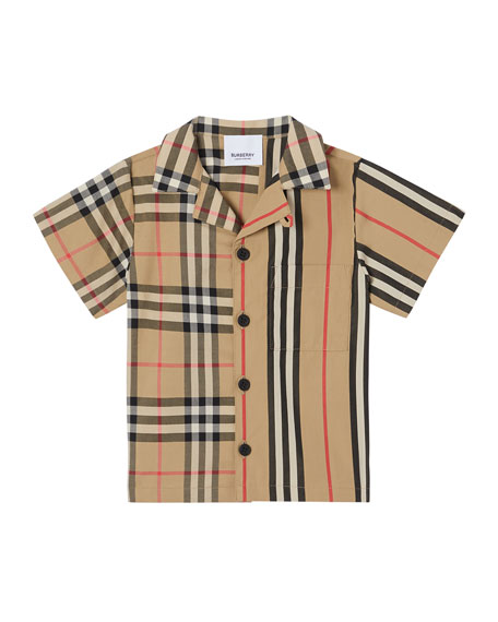 Burberry Boy's Jay Vintage Check & Icon Stripe Cotton Shirt, Size 6M-2