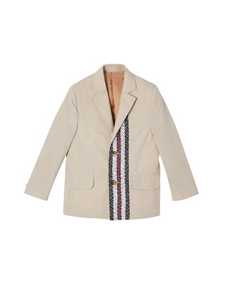 Burberry Boy's Ali Monogram Trim Cotton Jacket, Size 3-14
