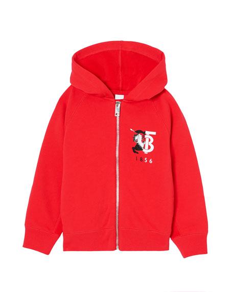 Burberry Boy's Henry Logo Zip-Up Hooded Fleece Jacket, Size 3-14