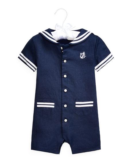 Ralph Lauren Childrenswear Sailor Linen Shortall, Size 3-18 Months