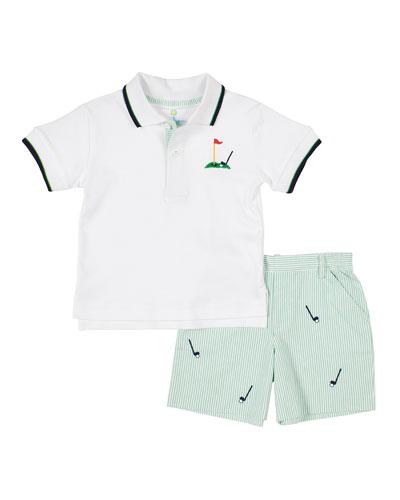 Boy's Golf Polo Top w/ Seersucker Striped Shorts, Size 2-4T