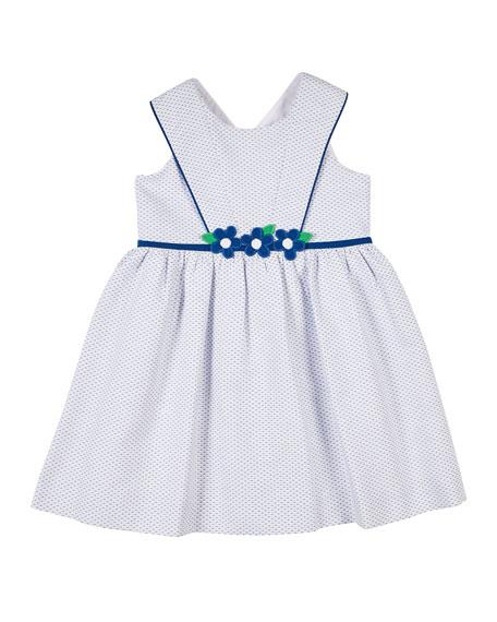 Florence Eiseman Girl's Birdseye Pique Dress w/ Flowers, Size 4-6X