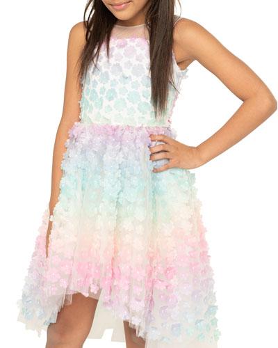 Girl's Tilly 3D Rainbow Flower High-Low Sleeveless Dress, Size 7-16