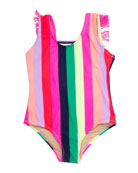 Shade Critters Girl's Multi Stripe Fringe-Back One-Piece