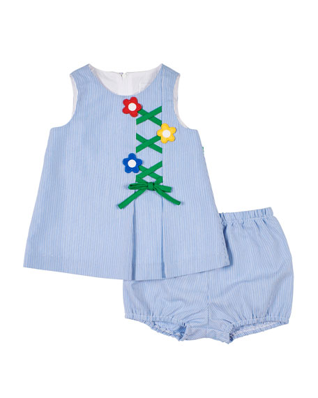 Florence Eiseman Cross Check Dress & Bloomers, Size 6-24 Months
