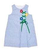 Florence Eiseman Girl's Sleeveless Cord Dress with Flower