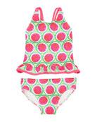 Florence Eiseman Watermelon-Print Tankini Set, Size 2-6X