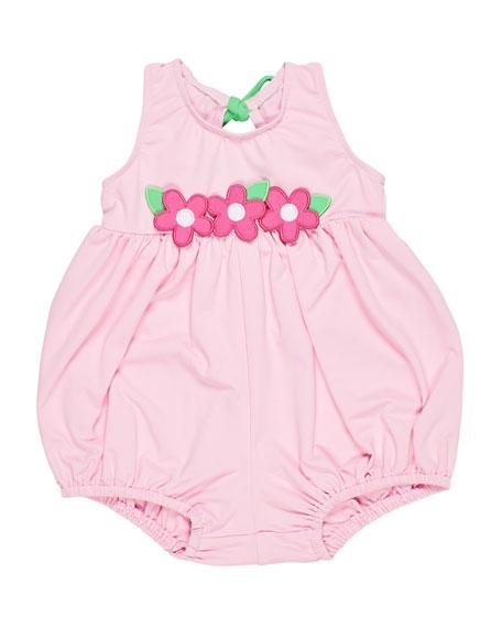 Florence Eiseman Bubble Bottom Swimsuit w/ Flowers, Size 6-24 Months