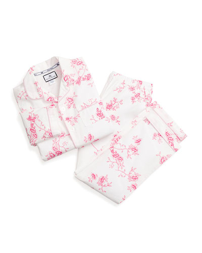 Girl's English Rose Floral Print Two-Piece Pajama Set, Size 6M-14