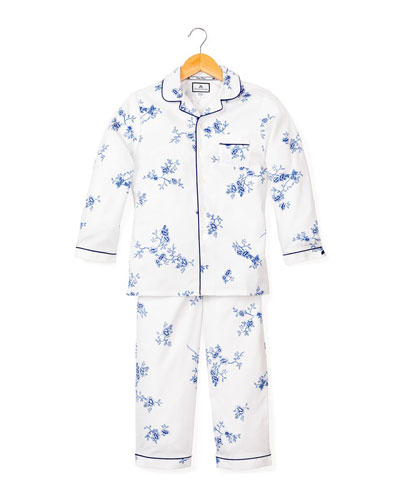 Girl's Indigo Floral Print Two-Piece Pajama Set, Size 6M-14