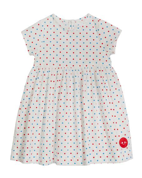 Smiling Button Girl's Sunday Americana Dots Cap-Sleeve Dress, Size 0-10