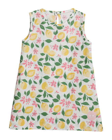 Smiling Button Girl's Lemonade Printed Tunic Dress, Size 18M-10