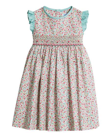 Luli & Me Girl's Green Floral-Print Smock Dress, Size 4T-3