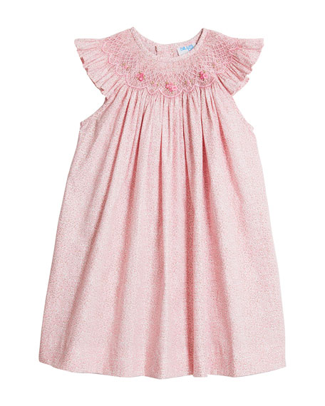 Luli & Me Girl's Pink Floral-Print Smocked Dress, Size 4T-3