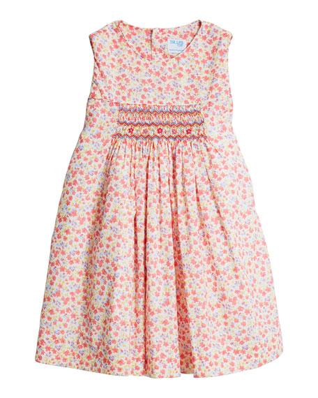 Luli & Me Girl's Coral Floral-Print Smocked Dress, Size 4T-3