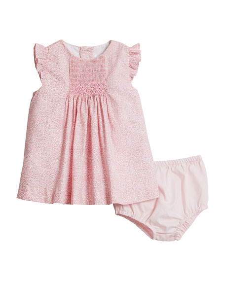 Luli & Me Girl's Pink Floral-Print Dress w/ Solid Bloomers, Size 3-24 Months