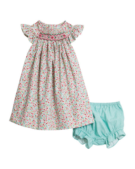 Luli & Me Green Floral-Print Smock Dress w/ Dotted Bloomers, Size 6-24 Months