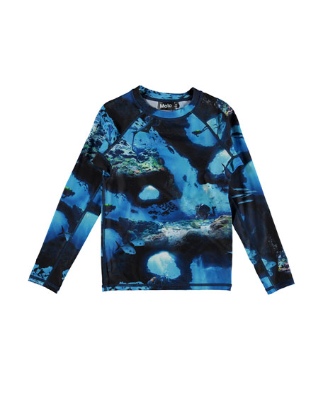 Molo Boy's Neptune Deep Sea Printed Rash Guard, Size 3T-12