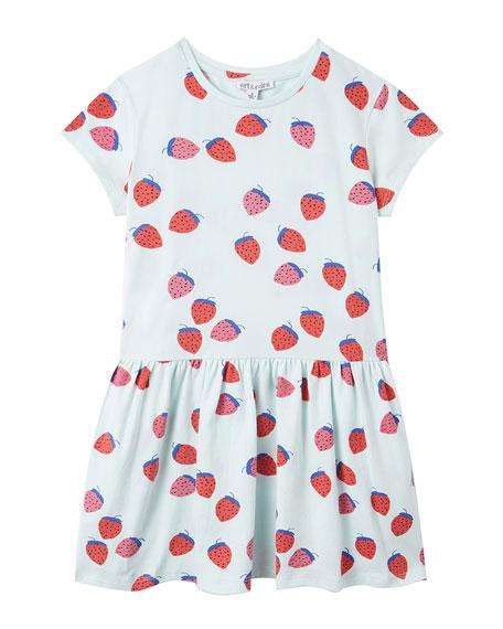 art & eden Girl's Zandra Strawberry Print Drop-Waist Dress, Size 2-10