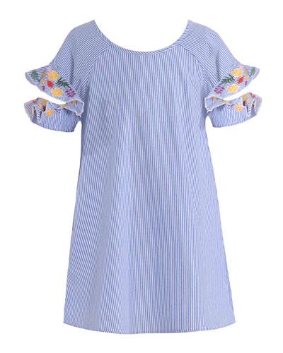 Navy Floral Pink /& Violet Girls Bell Sleeve Crinkle /& Lace Romper
