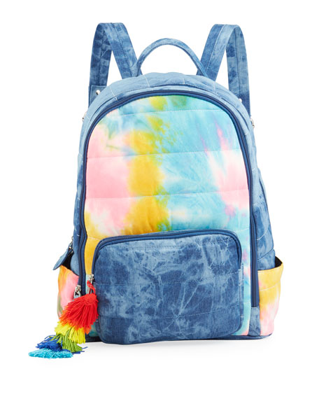 Bari Lynn Girl's Acid-Washed Denim and Tie-Dye Quilted Backpack