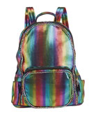 Bari Lynn Girl's Chained Rainbow Striped Metallic Backpack