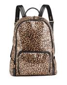 Bari Lynn Girl's Glossy Leopard-Print Backpack