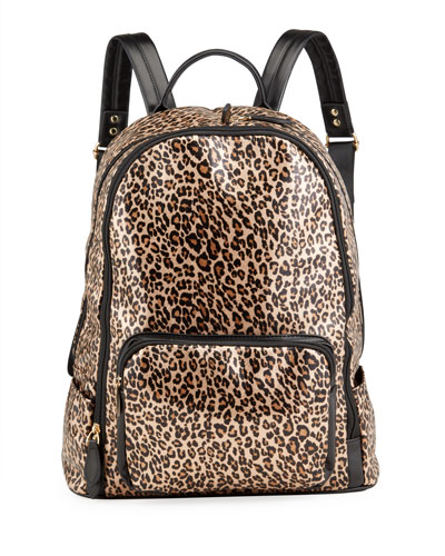 Girl's Glossy Leopard-Print Backpack
