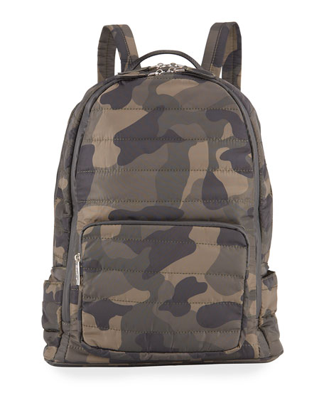 Bari Lynn Girls' Camo Nylon Quilted Puffy Backpack